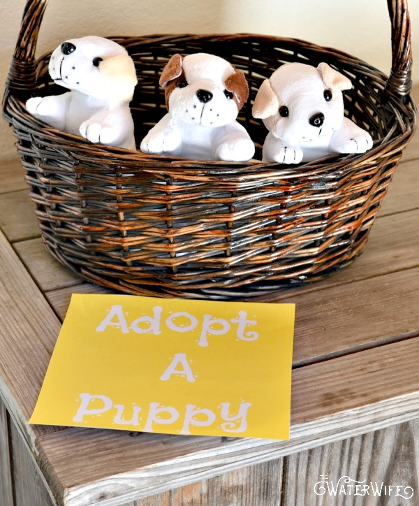 The cutest puppy dog party ideas with adopt a puppy basket!