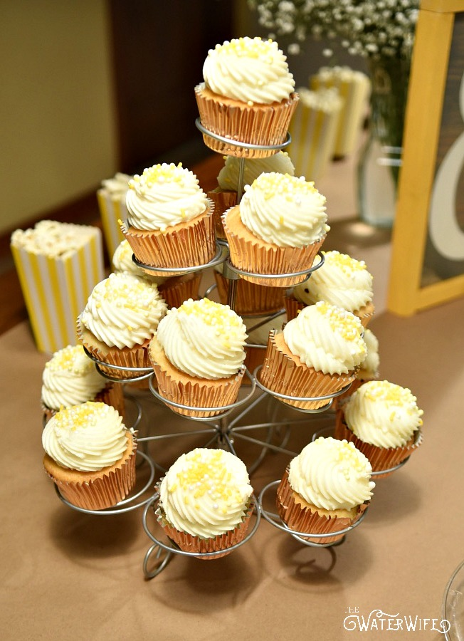 Beautiful yellow party themed cupcakes.