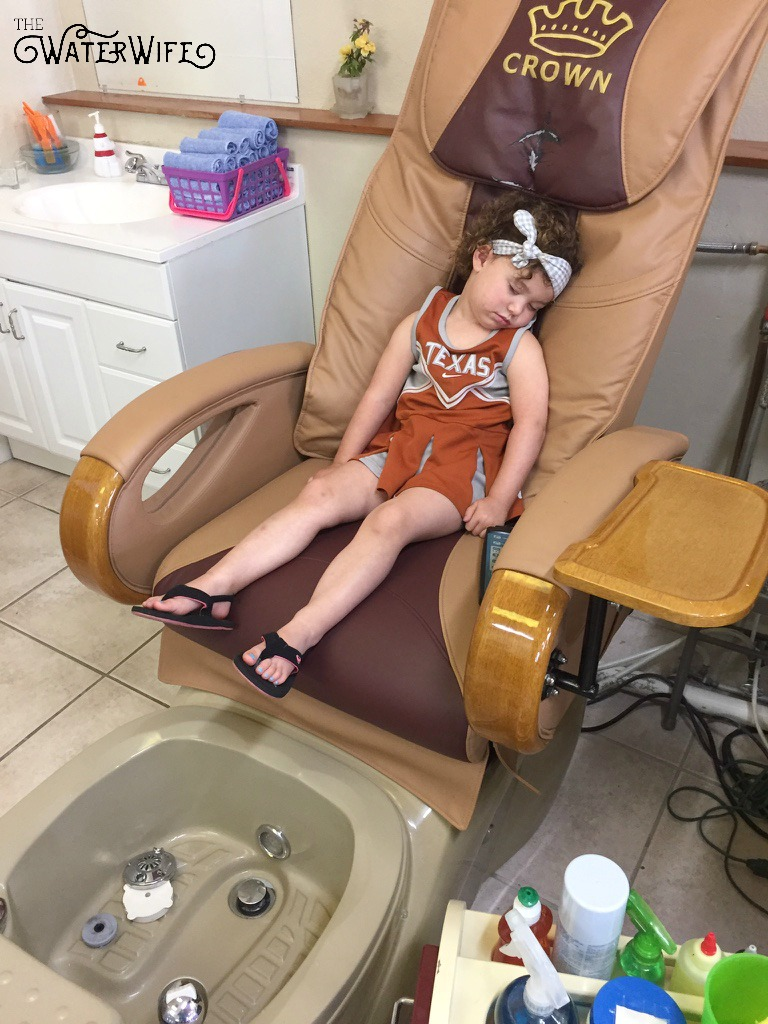 How cute! Sweet girl fell asleep after her birthday pedicure! Read all about one woman's tales from Texas about marriage, motherhood and lake life.